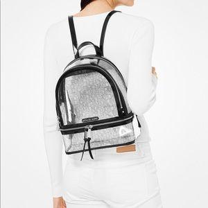 Michael Kors Rhea clear logo backpack black